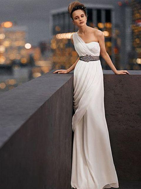 Vera Wang Grecian one-shoulder wedding dress with a belt