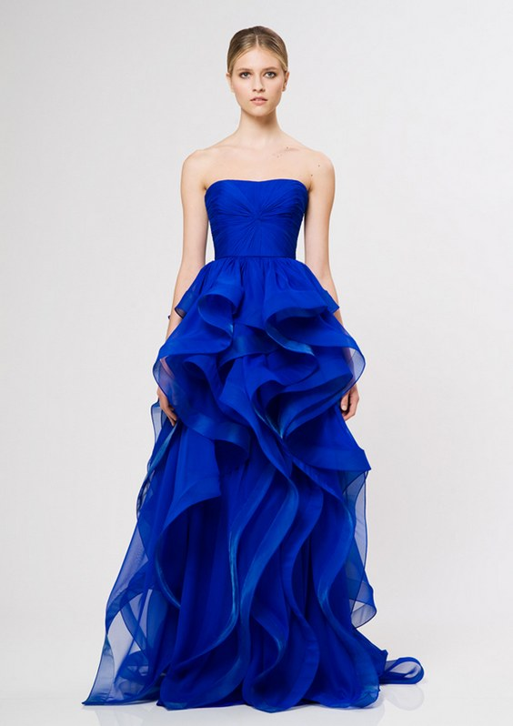 electric blue strapless ruffled wedding dress
