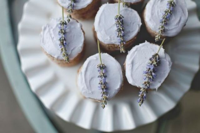 grey cupcakes topped with lavender