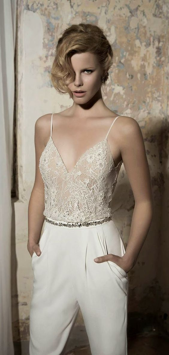 Picture Of Ivory Pantsuit With A Lace Beaded Spaghetti