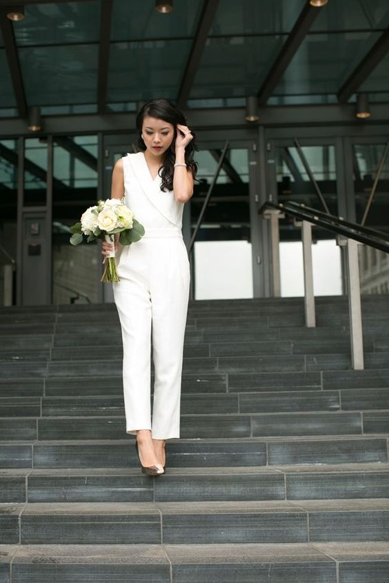 bridal pantsuit without sleeves, with metallic heels is drop dead gorgeous