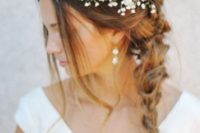 28 messy braid and a baby's breath crown for a summer bride