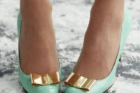 28 mint lacquer shoes with gold bows