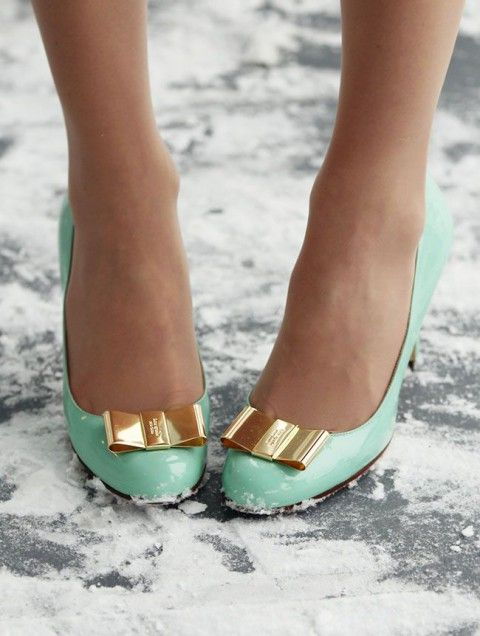 mint lacquer shoes with gold bows