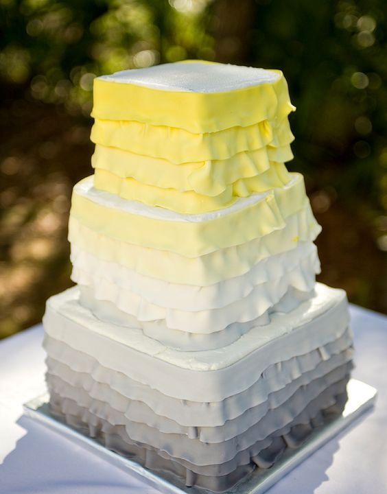 ombre square yellow and gray wedding cake