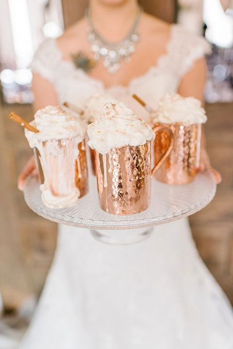 serve drinks in cool copper mugs to create a mood