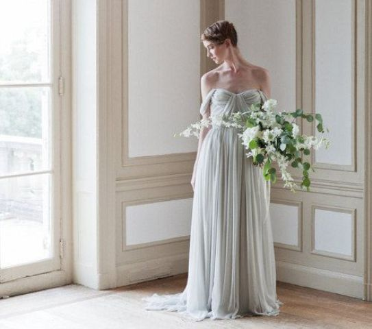 draped off the shoulder wedding dress