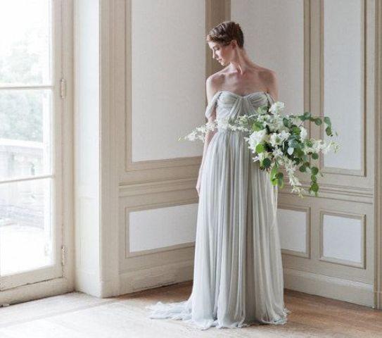 draped off the shoulder wedding dress