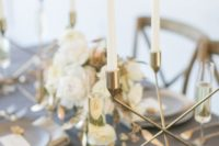 29 modern grey and gold tablescape with ivory touches