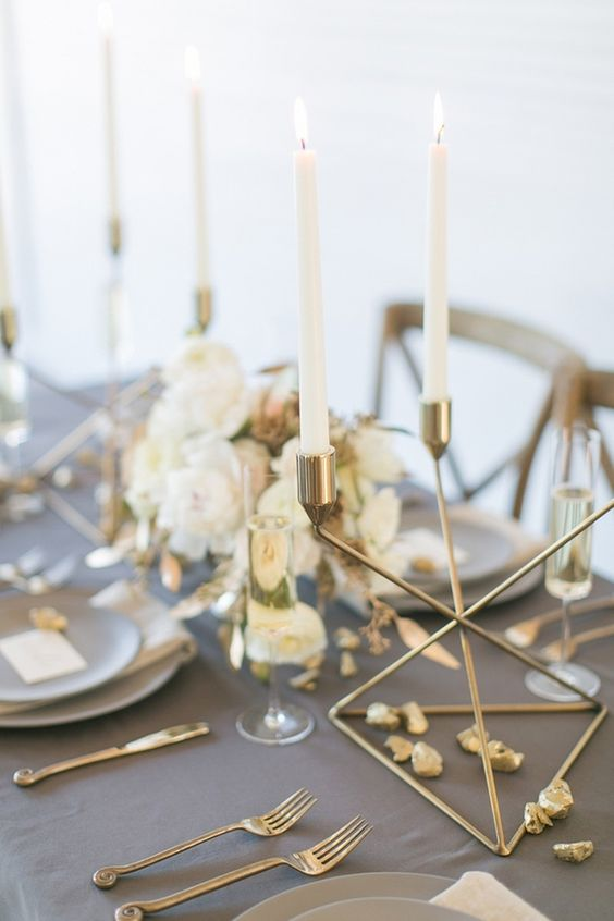 modern grey and gold tablescape with ivory touches