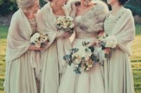29 tea length dresses and pashminas in the same ivory shade for a vintage wedding