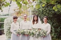 30 bridesmaids' separates with grey maxi skirts and white sweaters