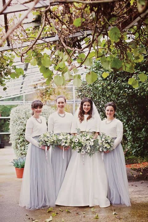 bridesmaids' separates with grey maxi skirts and white sweaters