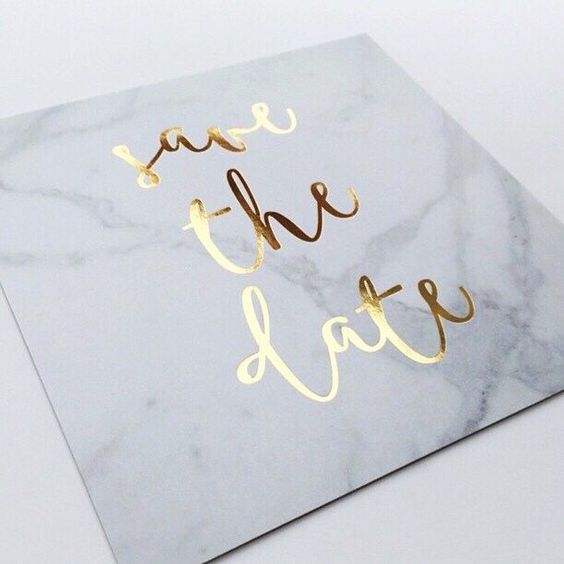 marble save the dates with gold calligraphy