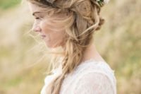 30 messy braid and a large fresh flower crown