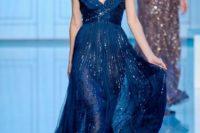 30 silky embellished midnight blue wedding dress with a V-neckline