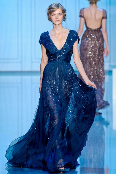 silky embellished midnight blue wedding dress with a V-neckline