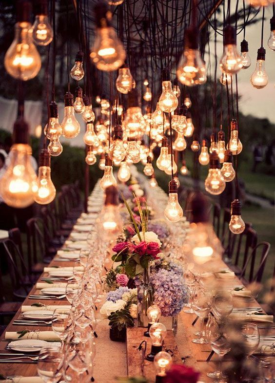 Steampunk Wedding Table With Industrial Bulb Decor Over It