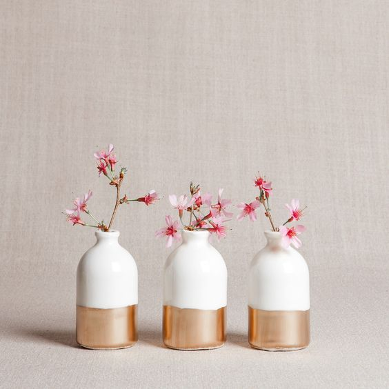 white and copper minimalist bud vases