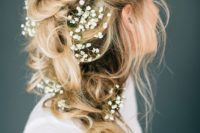 31 braided ponytail with baby's breath