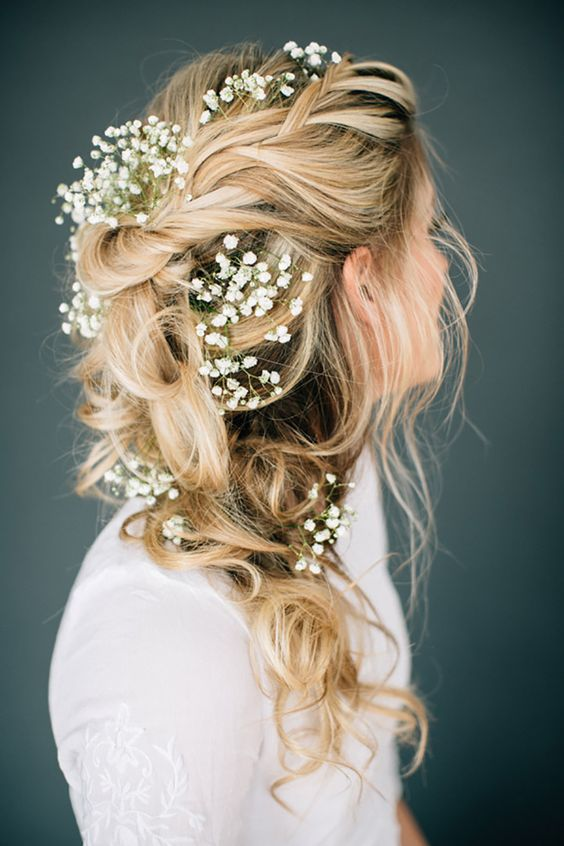braided ponytail with baby's breath