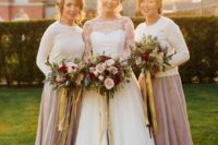 31 bridesmaids' separates with white sweaters and taupe skirts