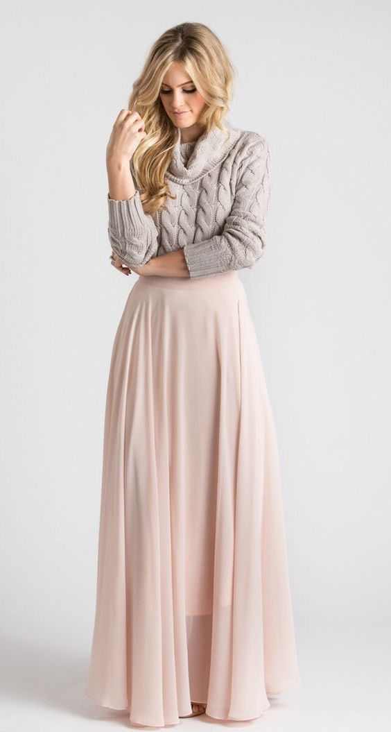 cable knit dove grey turtleneck and a blush maxi skirt for a chic bridesmaid's separate