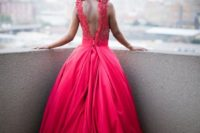 32 fabulous red floral wedding dress with a statement back
