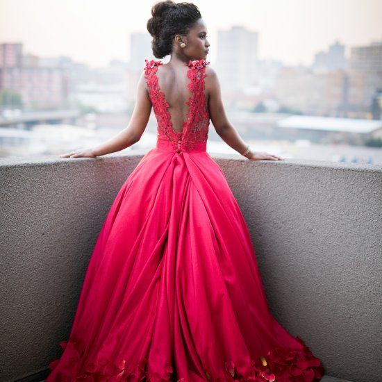 fabulous red floral wedding dress with a statement back
