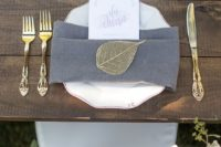 32 gold and grey place setting with crispy white