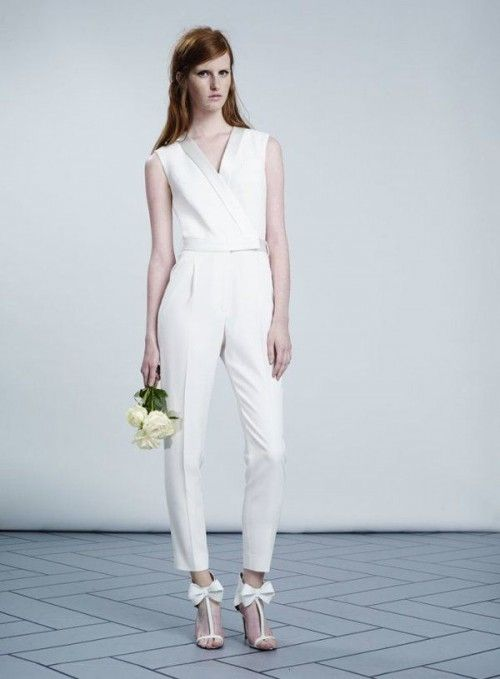 minimalist bridal jumpsuit and bow heels