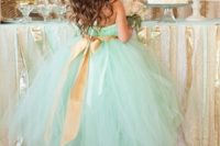 32 mint tulle flower girl dress with a gold sash