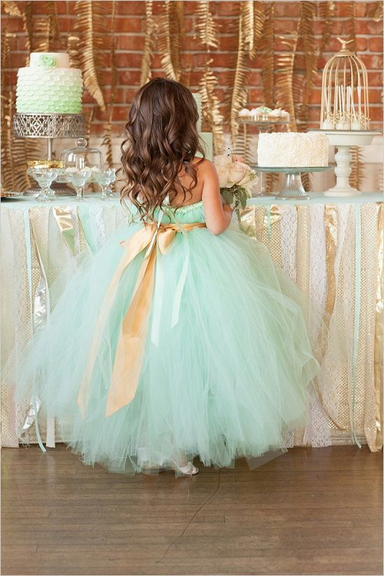 mint tulle flower girl dress with a gold sash