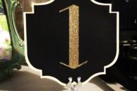 33 chic black and gold table number