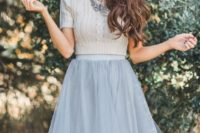 33 grey tulle skirt and a neutral cable knit crop sweater