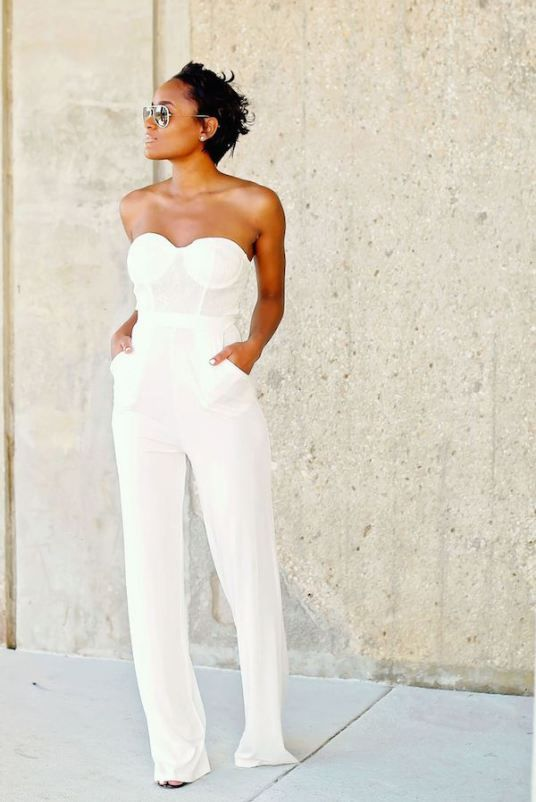 strapless bridal jumpsuit with pockets