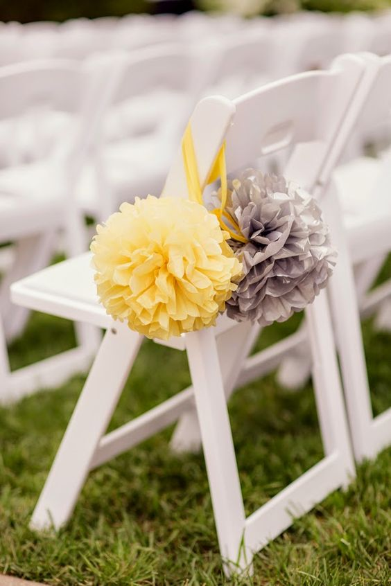 36 cheerful grey and yellow wedding ideas weddingomania tissue paper pompoms for the wedding aisle mightylinksfo