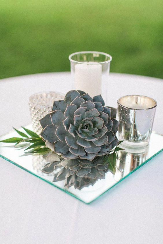 Vintage Mirror Wedding Centerpiece Idea With Candle Holders And A Succulent