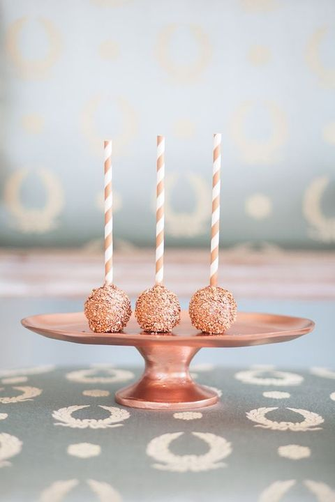 copper and white cake pops