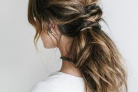 34 messy low ponytail for hair with lowlights