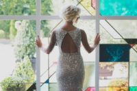 34 silver sequin dress with a keyhole back