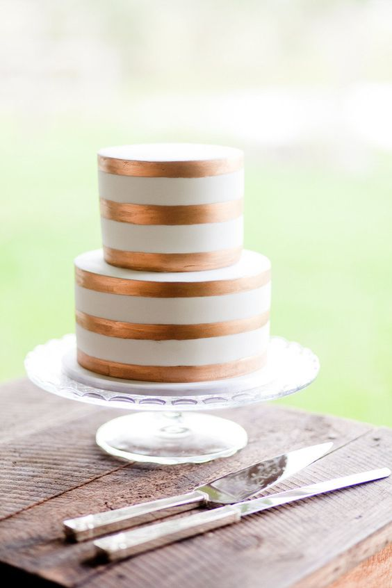 chic copper and white two-tier wedding cake
