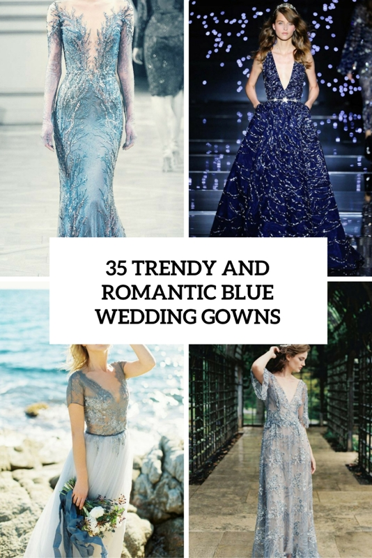 trendy and romantic blue wedding gowns cover