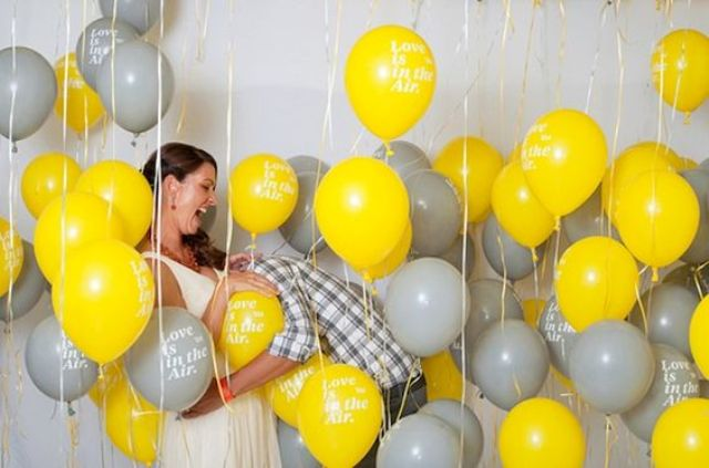 yellow and grey balloons for decor