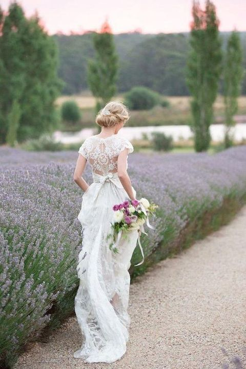 bride in the lavender fields