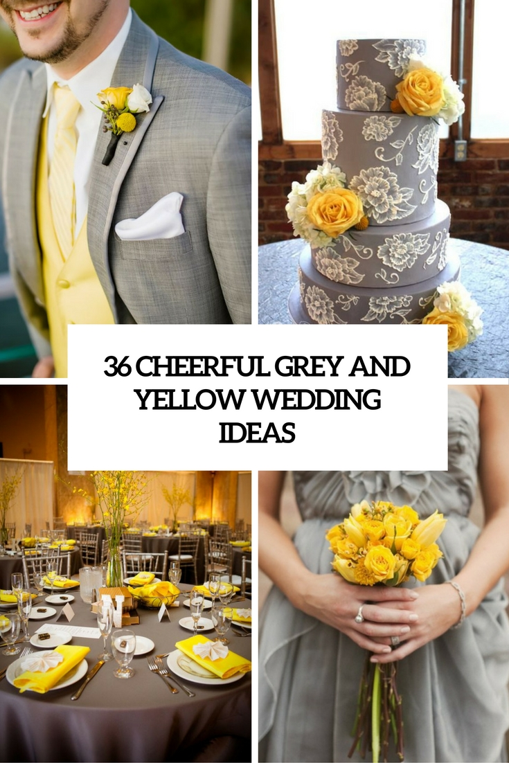 cheerful grey and yellow wedding ideas cover