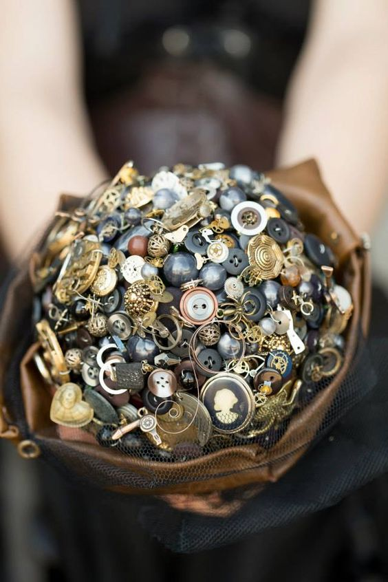 gorgeous and intricate steampunk button and brooch bouquet
