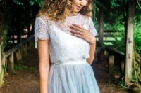 36 lace crop top and a flowing blue skirt is a very popular option among brides