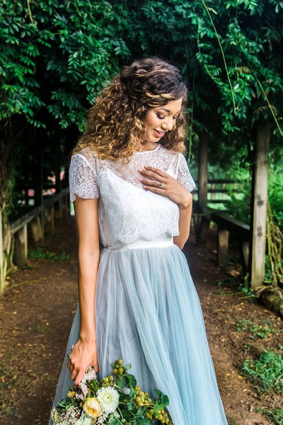 lace crop top and a flowing blue skirt is a very popular option among brides
