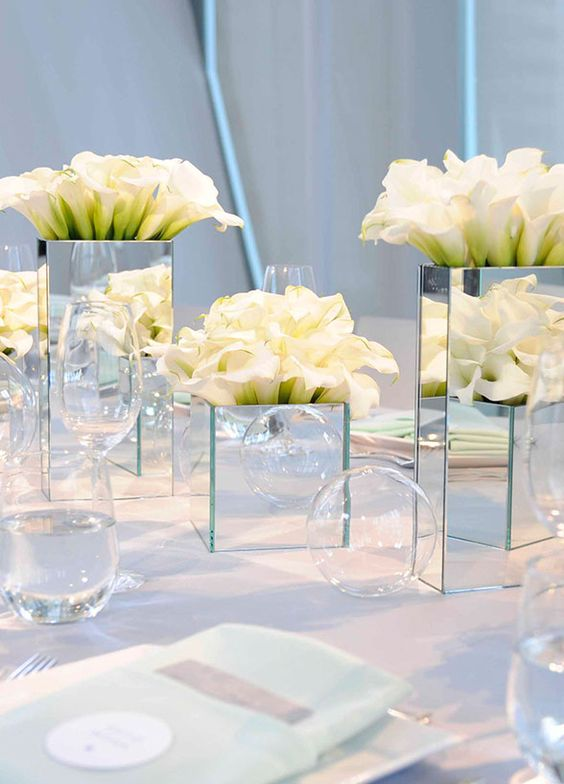 43 creative mirror wedding d cor ideas weddingomania for Modern table centerpieces
